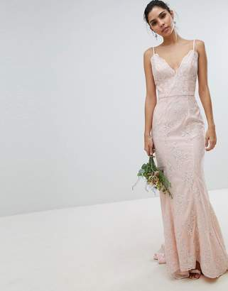 72eb27e25ec8 Chi Chi London bridal premium lace maxi dress with fishtail in white