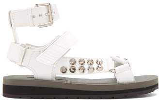 Prada Stud Embellished Leather Sandals - Womens - White
