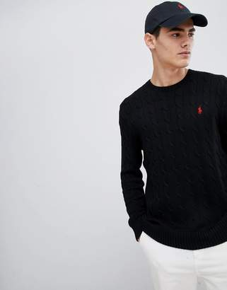 Polo Ralph Lauren cable cotton knit jumper with player logo in black