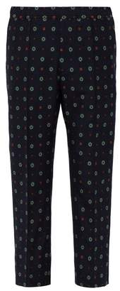 Gucci Patterned Cotton Blend Trousers - Mens - Navy