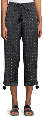 Figue Fiore Dot-Print Pull-On Pajama Silk Satin Ankle Pants w/ Pompom