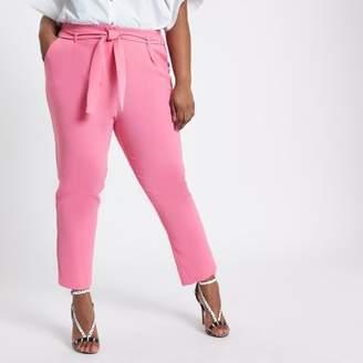 River Island Plus pink tie waist tapered pants