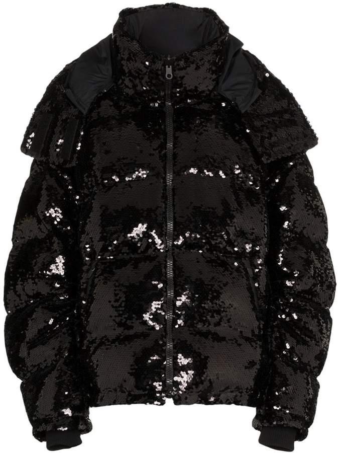 sequin embellished puffer jacket