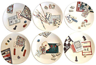 One Kings Lane Vintage Gien France Gaming Plates with Box - Set of 6