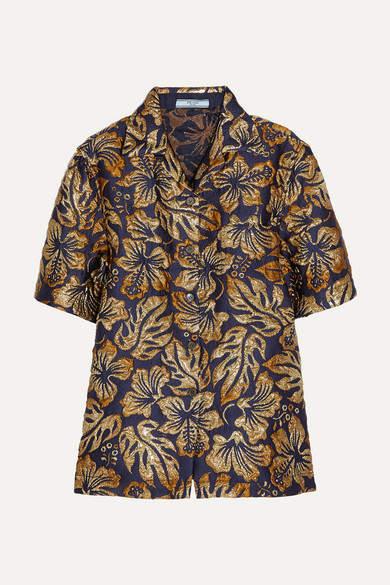 Prada - Metallic Brocade Shirt - Navy