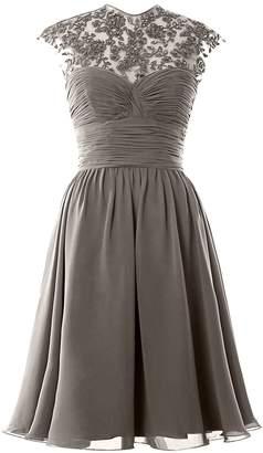 MACloth Women High Neck Cap Sleeve Lace Short Bridesmaid Dress Wedding Party Ball Gown