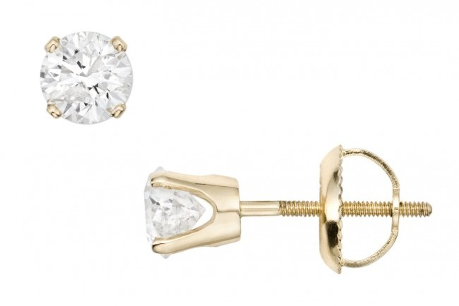 Ice 3/4 CT Diamond Stud 14K Yellow Gold Earrings