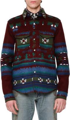 Valentino Tribal-Print Woven Shirt Jacket Wine