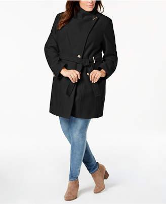 Calvin Klein Plus Size Belted Asymmetrical Coat