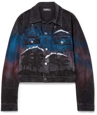 Printed Distressed Denim Jacket - Black