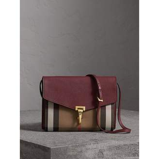 Burberry Small Leather and House Check Crossbody Bag