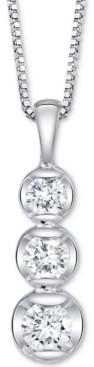 """Sirena Diamond Three Stone 18"""" Pendant Necklace (1/3 ct. t.w.) in 14k White Gold"""