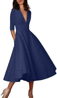 YMING Women's Elegant Deep V-Neck 1/2 Sleeve Prom Party Swing Dresses S