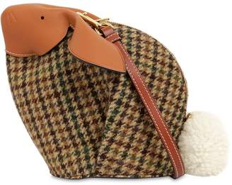 Loewe Bunny Tweed & Leather Shoulder Bag