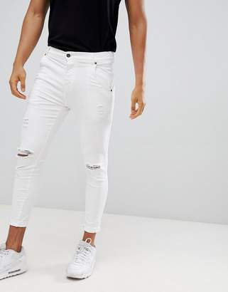SikSilk distressed skinny fit jeans in white