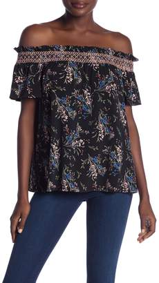Cynthia Steffe CeCe by Floral Off-the-Shoulder Short Sleeve Tee