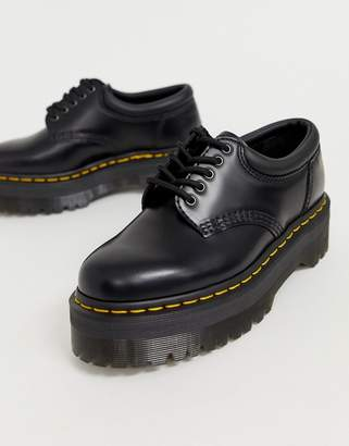 Dr. Martens Quad 5 tie stacked leather flat shoes in black
