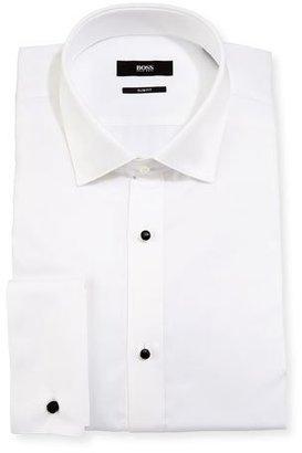 BOSS Slim-Fit Tuxedo Dress Shirt, White $215 thestylecure.com