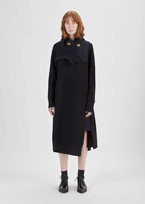 Sacai Melton Wool Dress Long Jacket Black X Navy