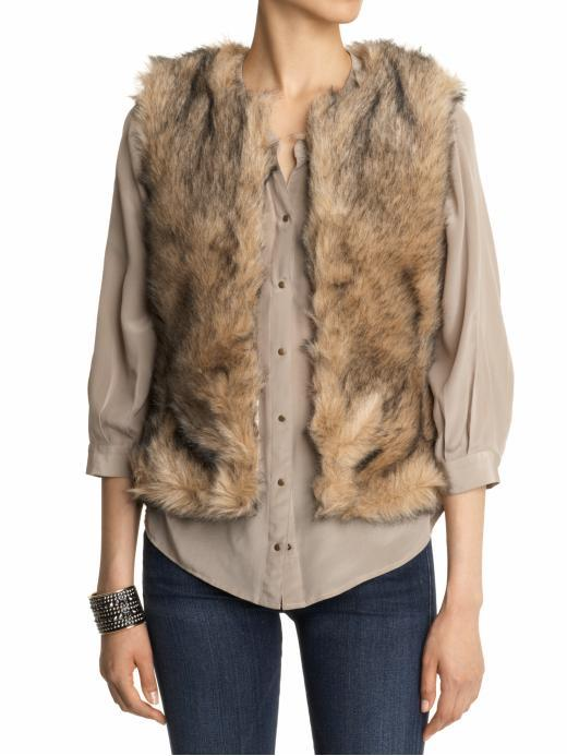 BB Dakota Garret Coyote Faux Fur Vest