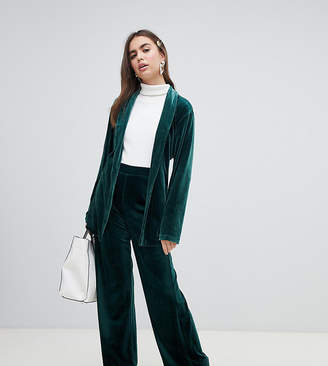 Monki velvet wide leg pants in green