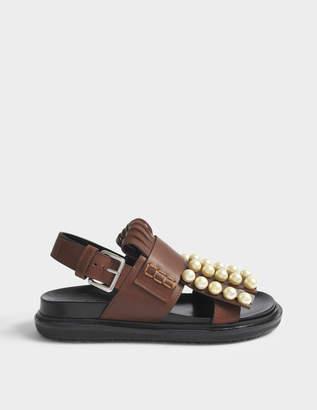 fafe4a3c04f Marni Fussbett Sandals with Pearls in Peanuts Calf