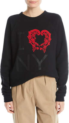 Rosie Assoulin Flocked I Love NY Crewneck Sweatshirt