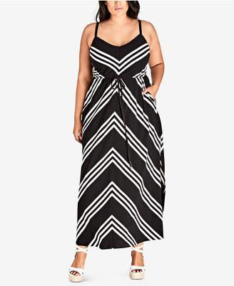 City Chic Trendy Plus Size Chevron-Stripe Maxi Dress