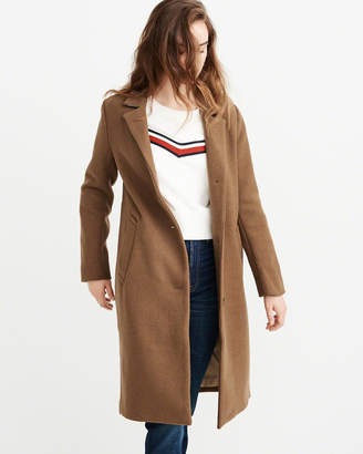 Abercrombie & Fitch Long Wool-Blend Overcoat