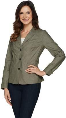 Denim & Co. Long Sleeve 3 Button Chambray Blazer