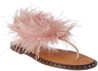 Valentino Feather & Suede Sandal