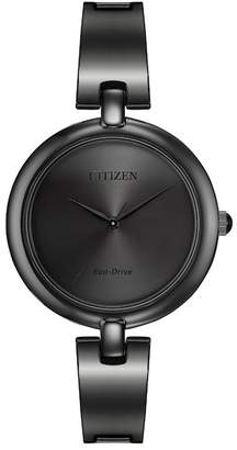 Citizen Women's Eco-Drive Silhouette Bangle Black Stainless Watch, 34mm