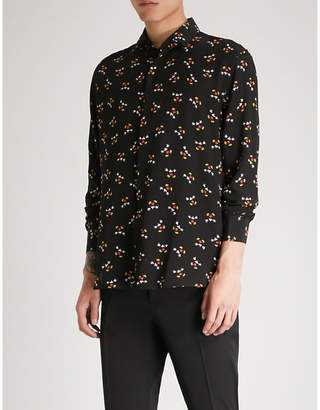 Saint Laurent Mickey Mouse-print regular-fit silk-crepe shirt
