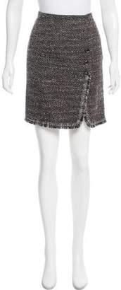 Les Copains Fringe-Trimmed Wool Skirt