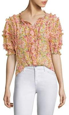 Rebecca Taylor Floral Ruffle Top