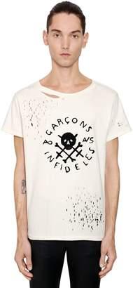 Skull Logo Printed Ripped Jersey T-Shirt