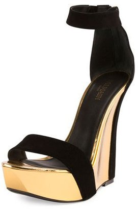 Balmain Samara Platform Wedge 175mm Sandal, Noir/Or $1,380 thestylecure.com