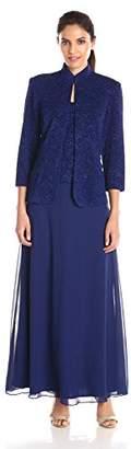 Alex Evenings Jacquard Glitter Knit Long Dress and Mandarin-Neck Jacket