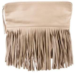 B-Low the Belt Leather Fold-Over Fringe Clutch Tan Leather Fold-Over Fringe Clutch