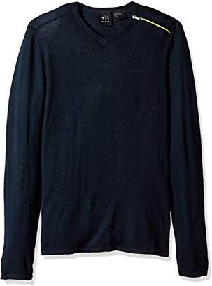 Armani Exchange A|X Men's Zipper V Neck Sweater