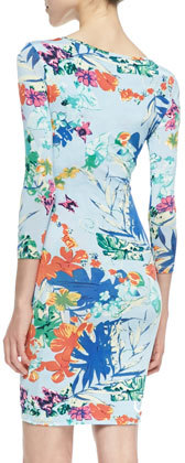 T-Bags T Bags 3/4-Sleeve Floral-Print Sheath Dress, Blue