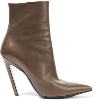 Balenciaga - Leather Ankle Boots - Brown $855 thestylecure.com