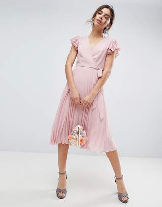 4b919fc0d185be Asos Design Pleated Midi Dress with Flutter Sleeve