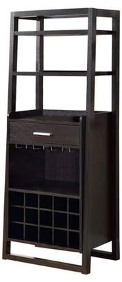 Monarch Specialties Monarch Cappuccino 60 Inch Ladder Style Home Bar Cabinet w/ Bar Top & Wine Rack