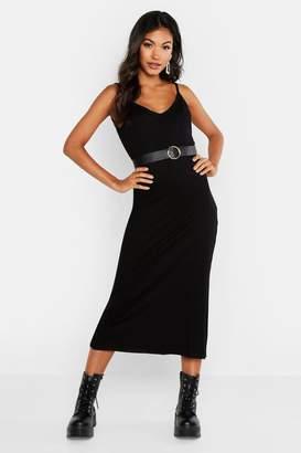 boohoo V Neck Strappy Rib Midaxi Dress