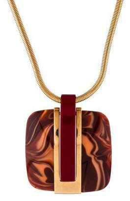 Lanvin Resin Pendant Necklace Gold Resin Pendant Necklace