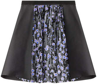Carven Satin Skirt with Glitter-Detailed Tulle