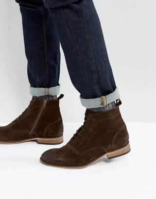 Asos Design Lace Up Boots In Brown Suede With Natural Sole