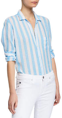 Frank And Eileen Striped Long-Sleeve Button-Down Linen Shirt