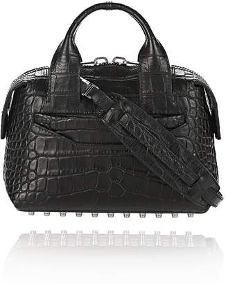 Alexander Wang Rogue Small Satchel In Matte Croc Embossed Black With Rhodium